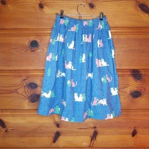 Vintage Cat PawBlue Midi Elastic Skirt Pockets